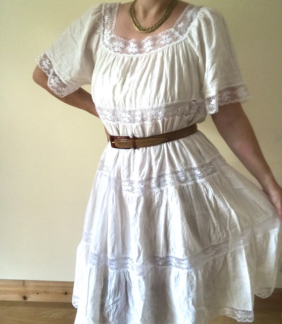 Vintage 1970s Cotton Gauze Dress/Made in Californi
