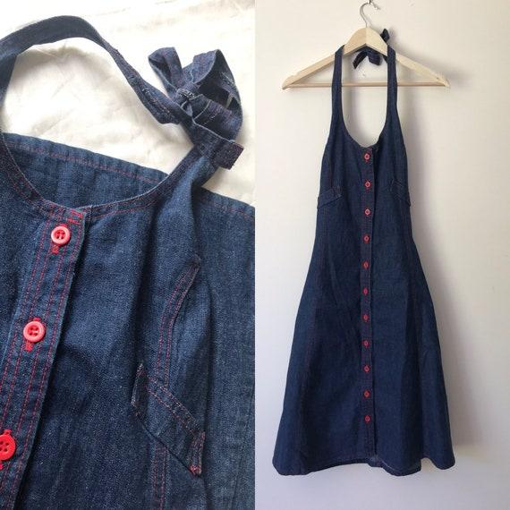 Vintage 1970s Denim Landlubber Halter Dress
