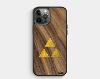 Walnut Gold Zelda Triforce -Real Wood PhoneCase - iPhone 12   X   Samsung Galaxy S21   S10   Google Pixel 5   Made in Canada_Alto Collective