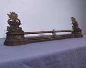 Antique French Neoclassical Iron and Bronze Chenet Andirons Fireplace w Wheat