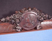 38 quot French Carved Architectural Crest Solid Walnut Wood Salvage with Portrait