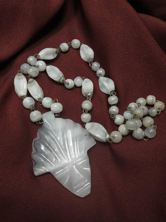 Pretty 1950/'s Style Zebra Jasper Stone and Rainbow Glass Beaded Necklace
