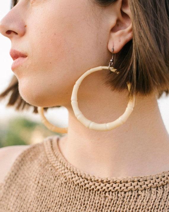 SUMMER SALE Teal Earrings Vintage Wide Hoop Earrings Silver Toned Post Earrings Enamel Earrings Large Chunky Hoop Earrings
