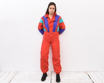 Vintage 90s Women XXL Funky Colour Blocks Multi Snowsuit Ski Suit Embroidered Dark Grey