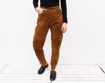 Size 6: A nice pair of retro high rise flat front warm camel faux suede slacks with a 27-30 waist Vintage Pants Orange Brown 90s Era