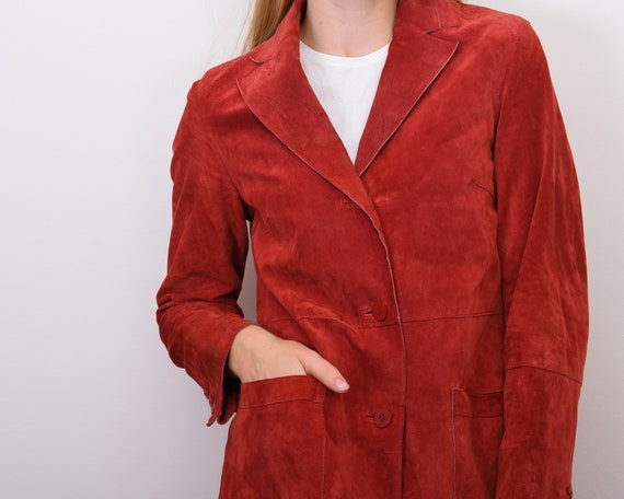 Women's Genuine Suede Leather M Red Coat Jacket B… - image 7