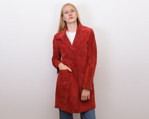 Women's Genuine Suede Leather M Red Coat Jacket Bl