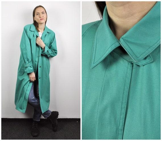 LONDON FOG 80's Women's M Petite Green Raincoat Tr