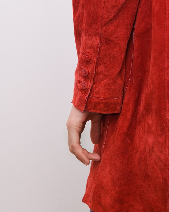Women's Genuine Suede Leather M Red Coat Jacket B… - image 5