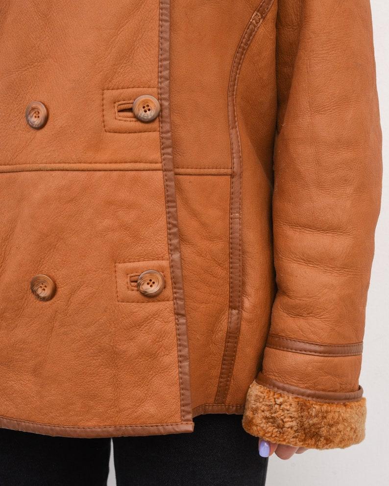 Vintage Women/'s Orange L Double Breasted Leather Coat Shearling Sherpa Jacket Winter Warm