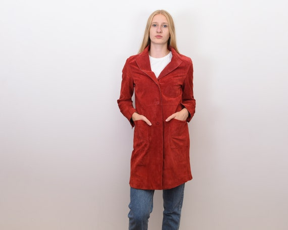 Women's Genuine Suede Leather M Red Coat Jacket B… - image 6
