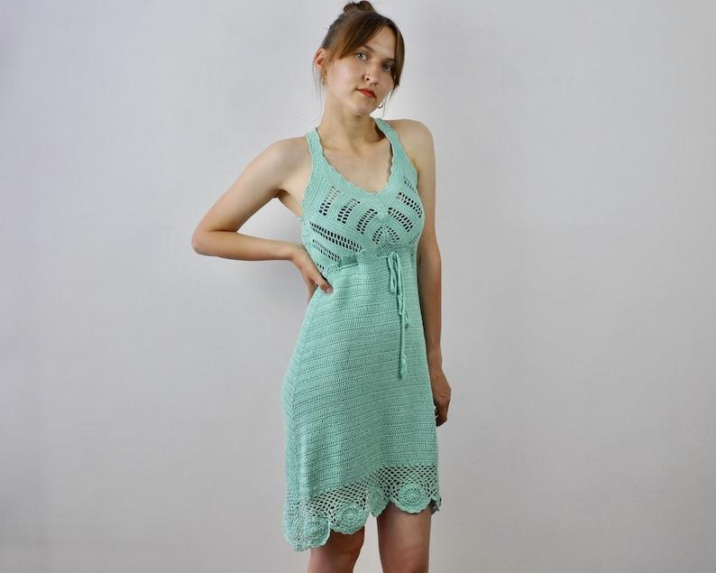 Women/'s Vintage S Crocheted Knitted Strap Mini Mint Green Dress Romantic Boho Bohemian