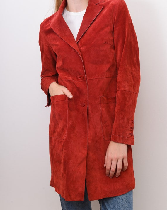Women's Genuine Suede Leather M Red Coat Jacket B… - image 8