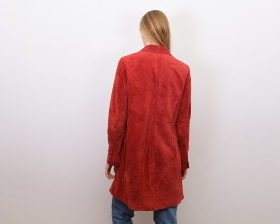 Women's Genuine Suede Leather M Red Coat Jacket B… - image 4