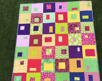 """Modern Handmade Quilt, Bright/Bold Patchwork, Geometric Design, Pink/Purple/Green/Yellow Quilt, 45"""" by 53"""", easily goes from baby to toddler"""