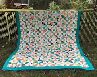 Queen Size Bed Quilt, Handmade, Coral, Turquoise, Kaleidoscope Quilt, Illusion of Curves, Intersecting Circles, Crisp White Background