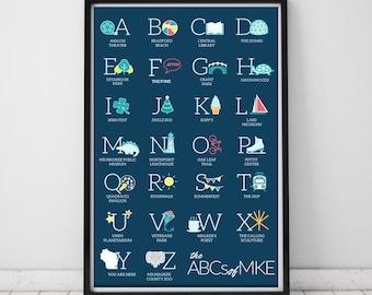 Milwaukee Alphabet Unframed Print | Teal