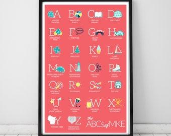 Milwaukee Alphabet Unframed Print | Coral