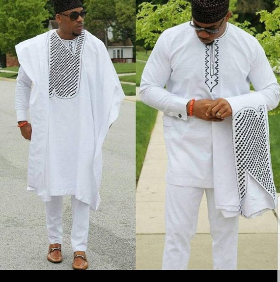 African wedding suit. African attire African men clothing 3 PC Agbada suit