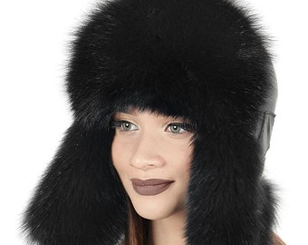 334e125404508 Arctic Fox Fur and Genuine Leather Hat with Ear-Flaps Classic Russian  Ushanka Aviator Hat Trapper Cap