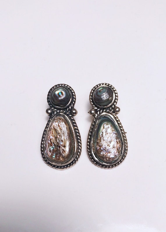 Sterling Silver Pearlescent Stone Earrings