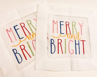 Holiday Cocktail Napkins, Christmas embroidered napkins, Merry and Bright napkins, Holiday Linen Napkins, Cocktail Napkins, colorful napkins