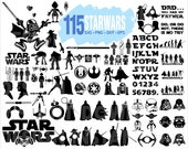 SVG BUNDLE Star Wars Bundle SVG Monogram Font Svg Darth vader Dxf star wars files Clipart Files for Silhouette Cameo or Cricut