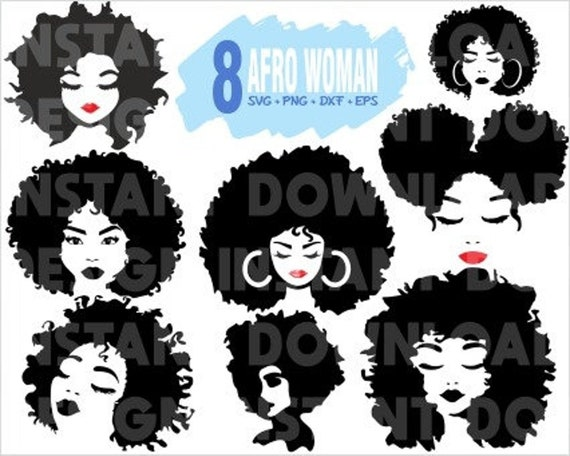 Afro Woman Svg Afro Girl Svg Afro Svg Black Woman Svg Etsy