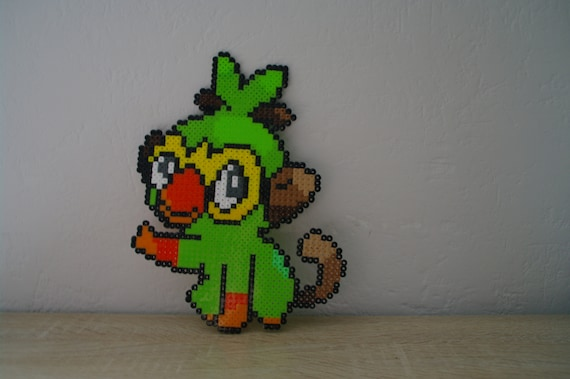 Wall Decoration Grookey Sprite From The Pokemon Video Game Subject Characters In Ironing Beads Or Pixel Art