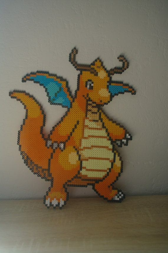 Wall Decoration Dracolosse Dragonite Sprite From The Pokémon Video Game Subject Characters In Ironing Beads Or Pixel Art