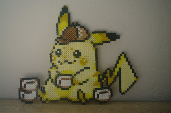 Wall Decoration Detective Pikachu Sprite From The Pokémon Video Game And Movie Subject Characters In Ironing Beads Or Pixel Art