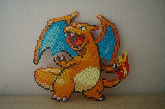 Wall Decoration Dracaufeu X Charizard Sprite From The Pokemon Video Game Subject Characters In Ironing Beads Or Pixel Art