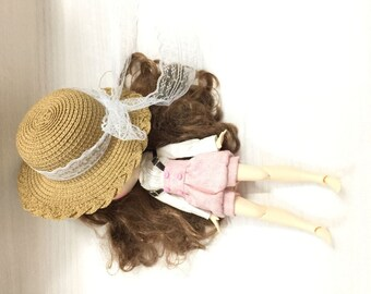 Adorable Vintage Round Bowler Hat Top Hat Bonnet for 1//3 BJD Doll Accessory