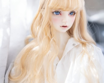 1//4 Synthetic Hair BJD Dolls Wig Hairpiece Synthetic Hair with Bangs for Dollfie Fashion Ball Jointed Dolls Custom Accessory Red