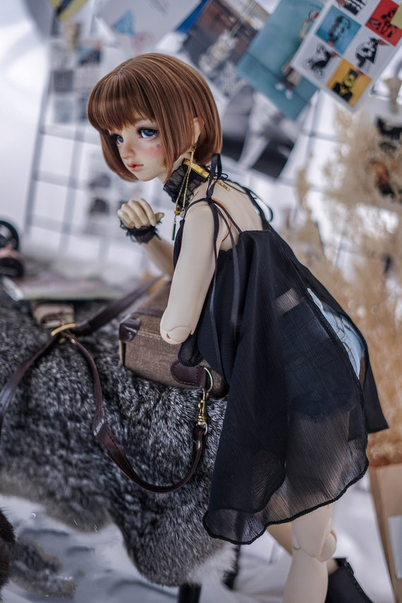 1/4 MSD Clothes,1/3 BJD Clothes,Fashion Doll Clothes Doll Tops for Dd SD Uncle Doll,Chiffon Sling Shirt-Black/White