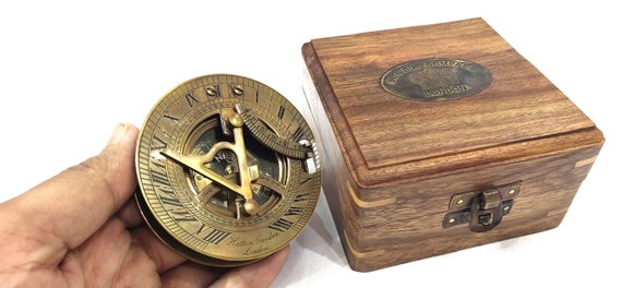 Gilbert Brass Sundial Compass with Leather box