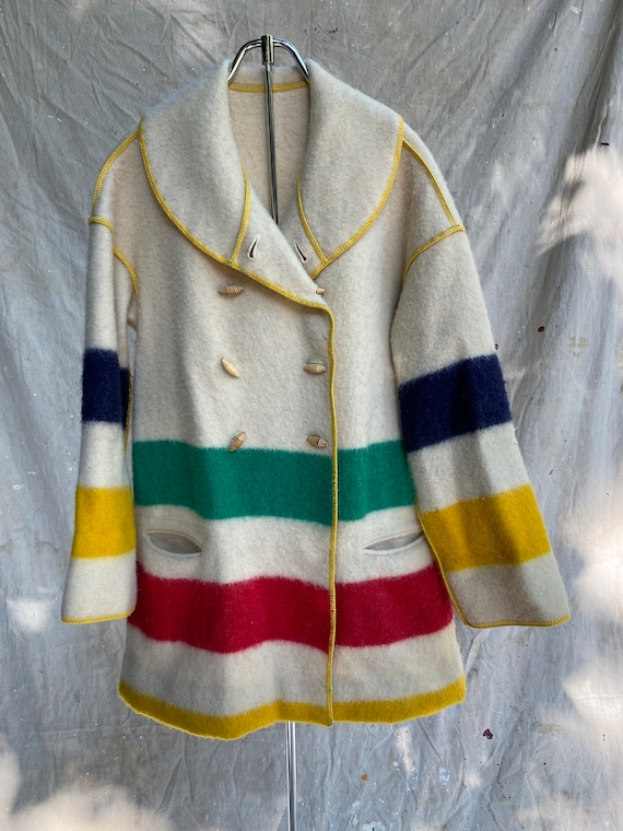 Vtg Homemade Beacon Blanket Shawl Collar Jacket