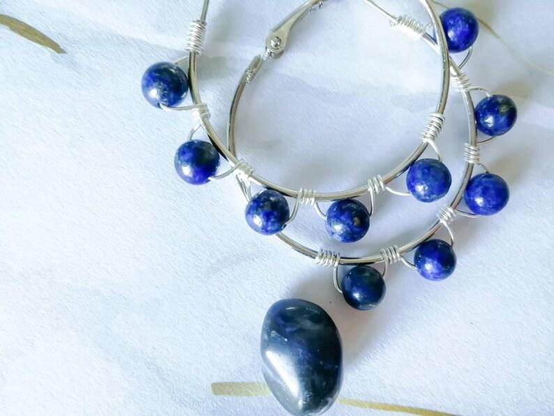 Lapis lazuli statement earrings \u2022 Beaded Hoop earrings with Crystals Wire wrapped Earrings with Beads Medium Hoop Earrings Elegant hoops