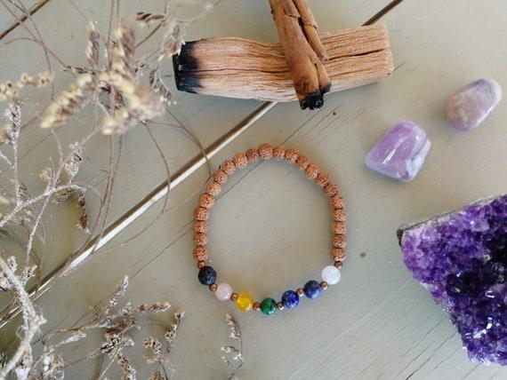 Macrame Healing Stones Reiki Chakra Gemstone Bracelet Lava Stone Yoga Bracelet Root Chakra