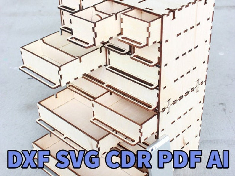 Wood drawer organizer cnc patterns, woodworking patterns dxf files for cnc,  vector for laser cut files, svg vector plan woodwork projects