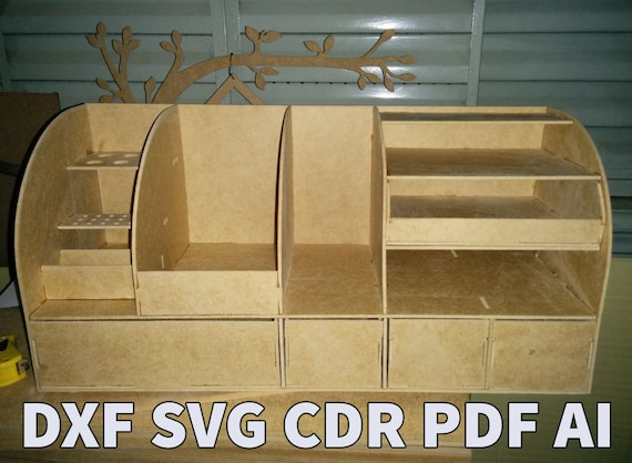 Laser cut vector organizer pattern, wood projects plans cnc, wood desk  organizer box, cdr files for cutting machines, diy plans dxf files