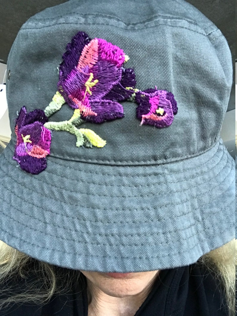 Grey-Green Bucket Sun Hat Embellished With Purple Floral Embroidered Appliques