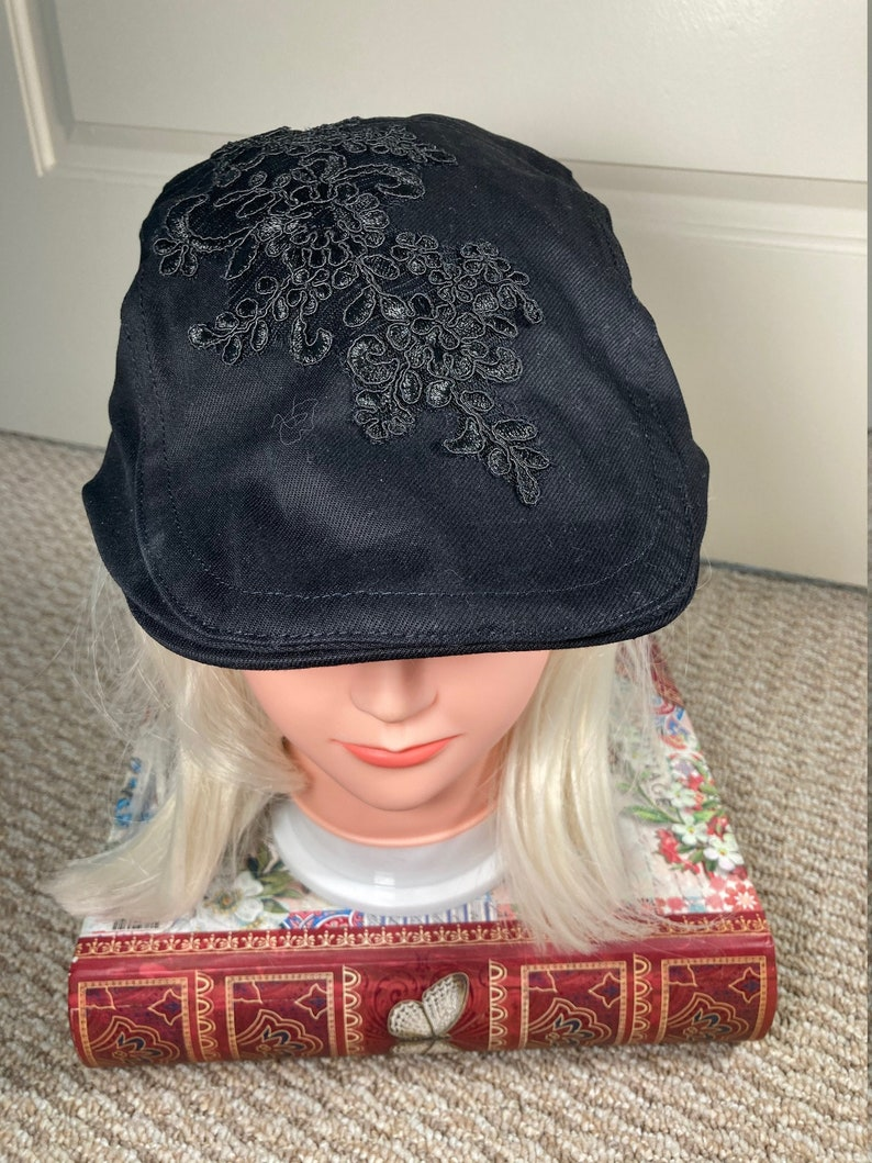 Black Newsboy Cap With Black Floral Embroidery