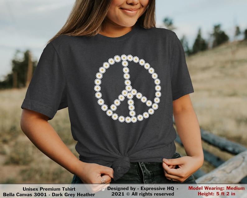 daisy peace sign shirt,womens daisy shirt,flower peace sign shirt,floral peace shirt,peace sign t-shirt,peace symbol shirt,boho graphic tee