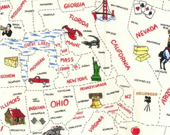 States Fabric | USA States Fabric | USA Fabric | Map Fabric | Fabric Traditions | Cotton Fabric