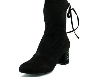 Wynter Mid Calf Slouch Boot with Triangular Block Heel New Black Suede Effect