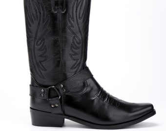 Mens Leather Cowboy Pull On Western Long Cuban Heel Smart Ankle Boots Black