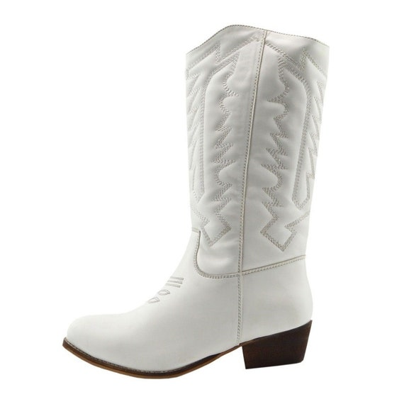 White Cuban Western Cowboy Boots NEW