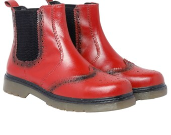 Mens Real Genuine Leather Chelsea Dealer Gusset Ankle Boots Formal Casual Red