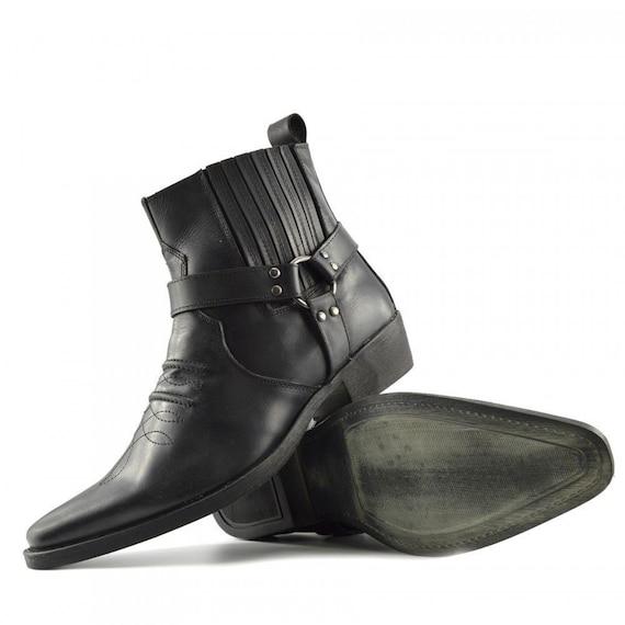 Leather Cowboy Pull On Western Harness Cuban Heel Mens Smart Ankle Boots UK 6 13 Handmade Black II 361